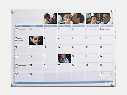 family schedule printed on a calendar