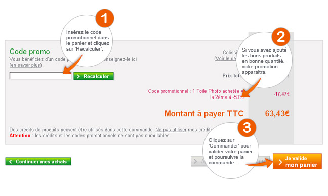 Instructions pour le code promo