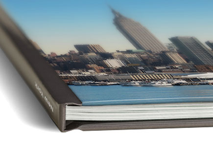 Hard personalised book cover with photo and album title