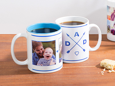 2 themed mugs on a table