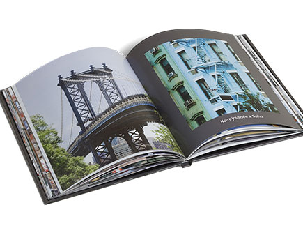 Personalised photo album with photos and text