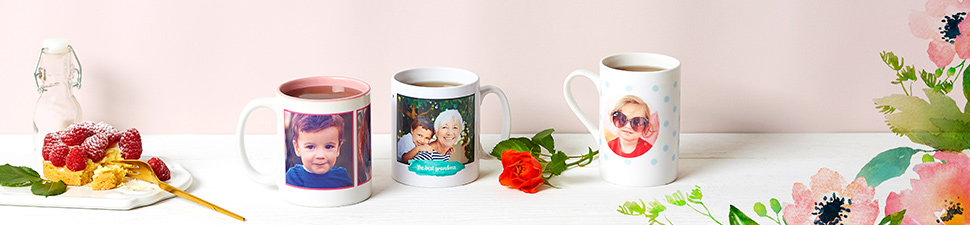 Different sized personalised mugs