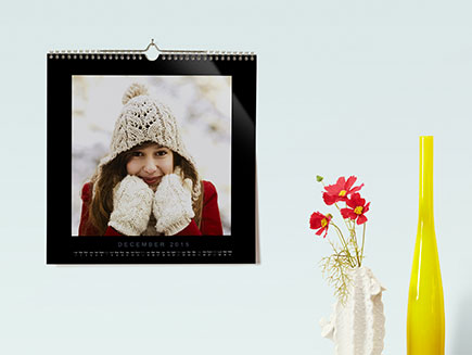 Square photo calendar in dining room