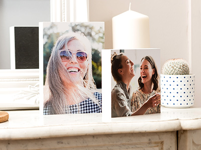 Photo block in living room with photo of woman printed on