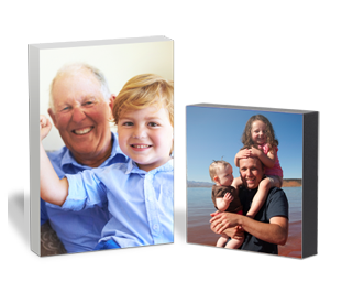 Photo blocks given as birthday gifts to grandad and dad