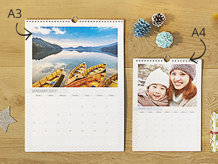 A3 and A4 Photo Calendars on a table