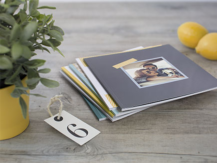 Stack of square cover photo books