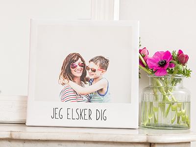 Fotolærred i retrostil med mor og barn