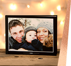 Photo book with family christmas photo on cover
