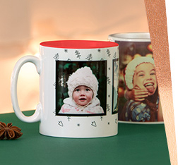 Two personalised christmas themed mugs