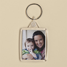 Man's keyring with family photo printed on