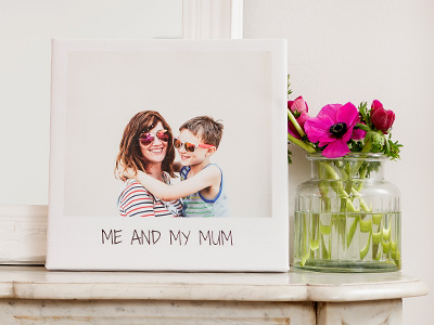 Photo of child and mother printed on a retro canvas with message