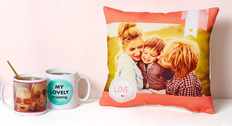 Personalised Mother's Day mugs and cushion