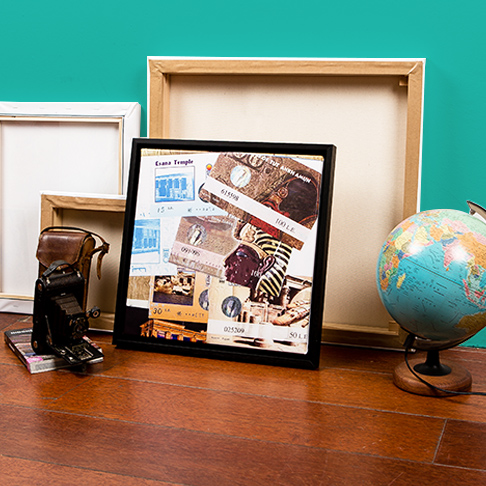 Travel shots printed on canvas with camera and globe