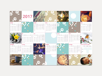 art design on photo calendar