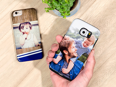2 personalised phone cases with photo man and son printed on