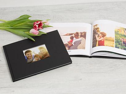 Livre photo luxe couverture à fenêtre avec couleurs au choix