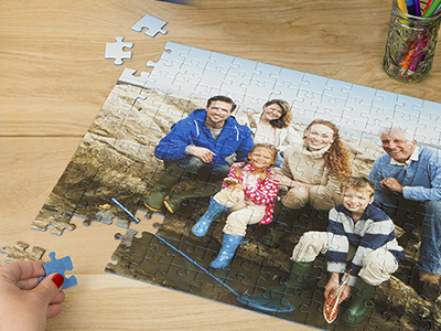 Family photo printed on a personalised puzzle