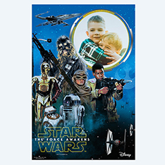 Personalised Star Wars poster with childrens photo