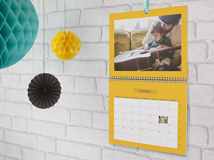 Large customised calender hanging on the wall