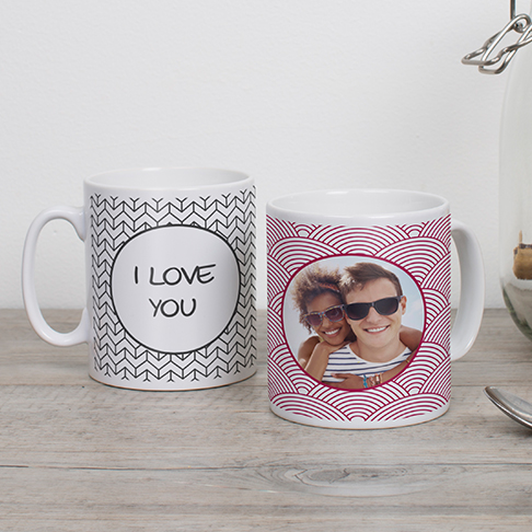 Two themed photo mugs with personalised text given as gift