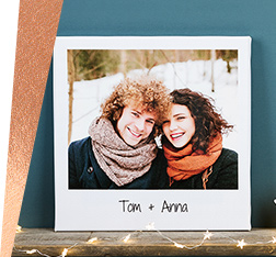 Retro canvas with photo of couple with personalised message