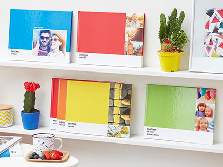 Selection of coloured pantone photo books