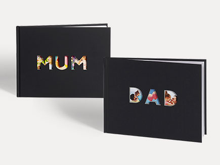Photo book with 'Mum' & 'Dad' lettering on the cover